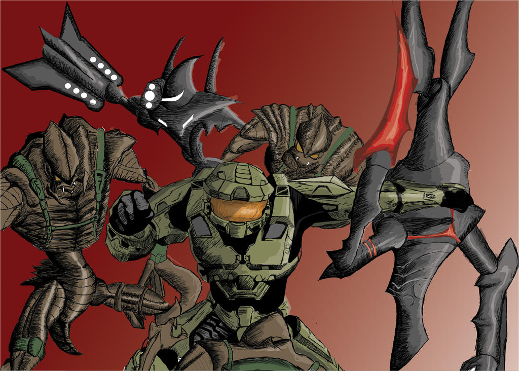 Master chief VS Space Pirates by crashARM