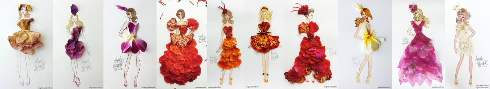 Flower Fashion Compilation by angelaaasketches
