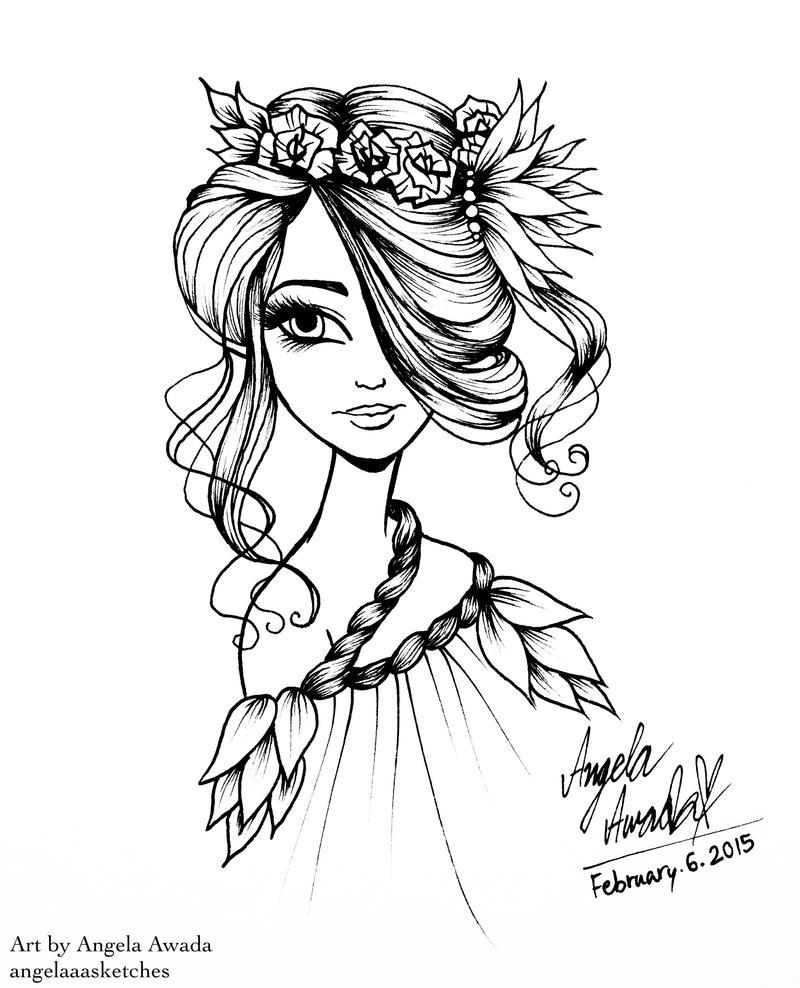 Line Art Girl : Flower girl line art by angelaaasketches on deviantart
