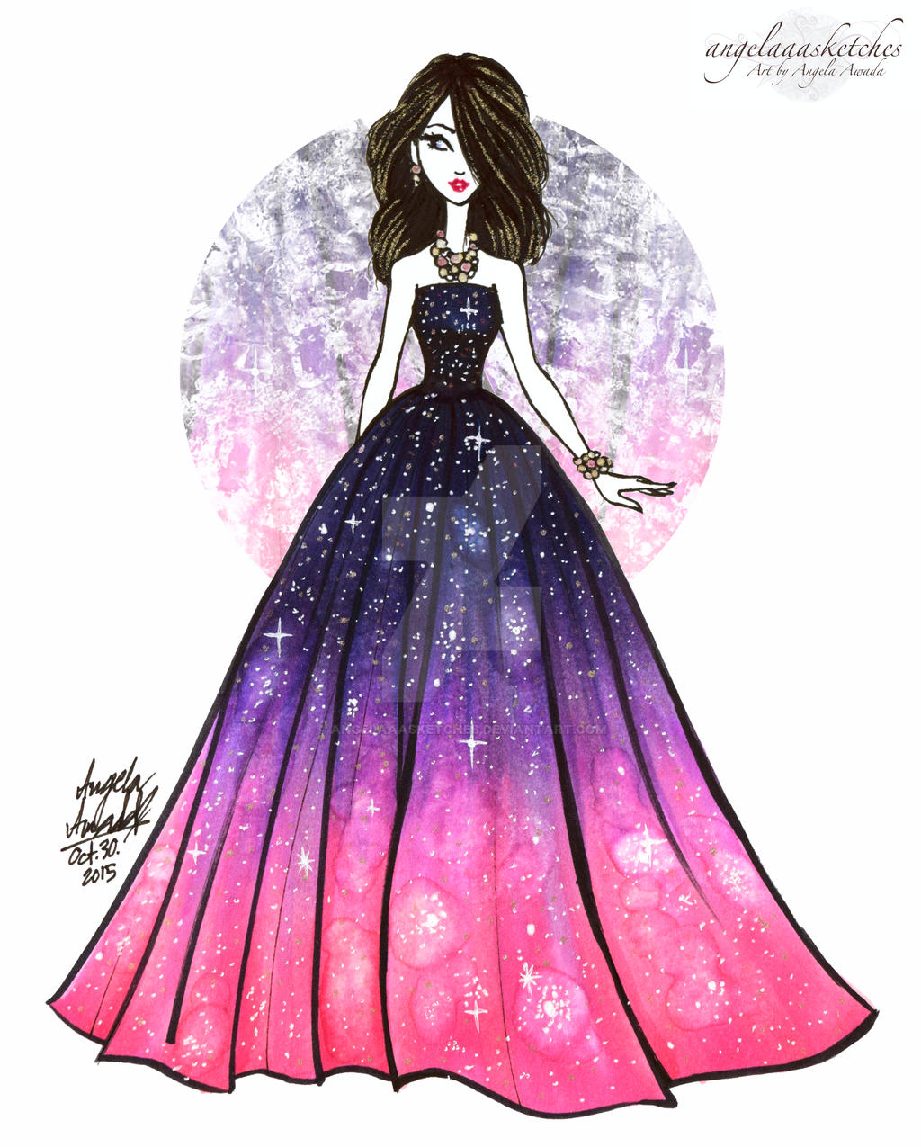 Galaxies Dress by angelaaasketches on DeviantArt