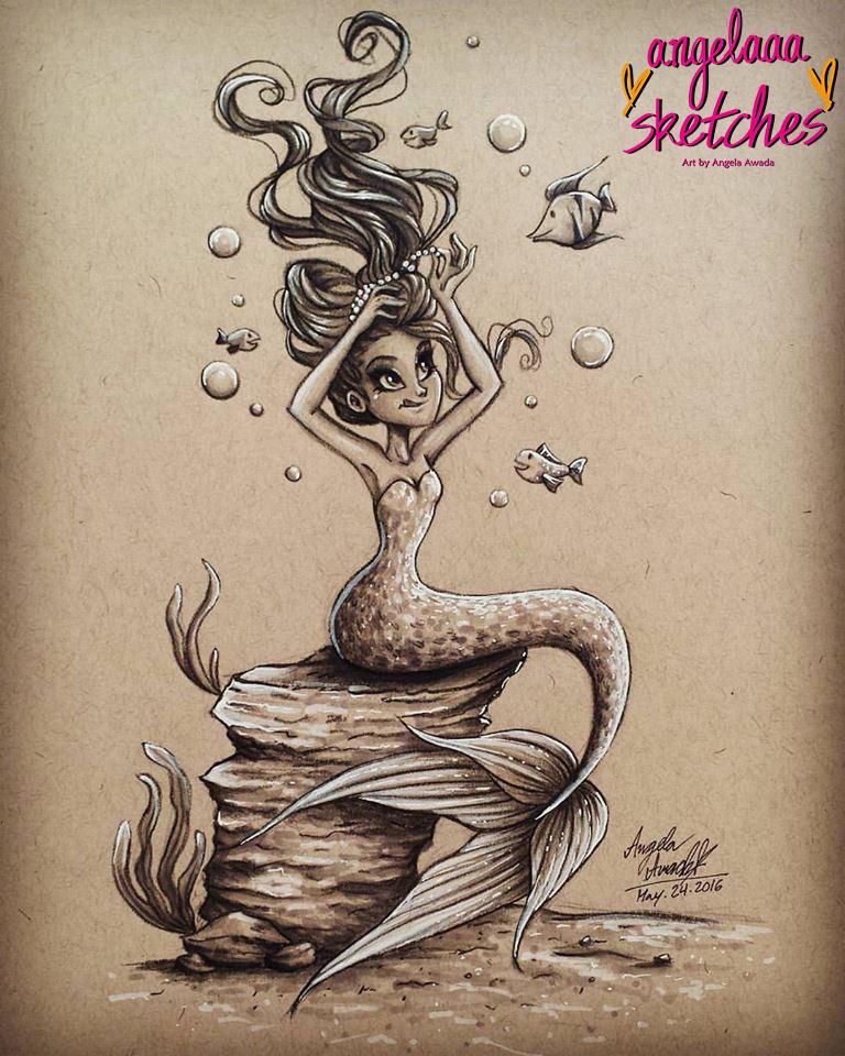 Mermaid Fixing Her Hair