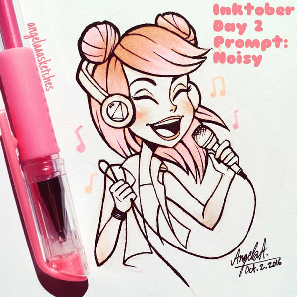 Inktober 2016 Day 2: Noisy by angelaaasketches