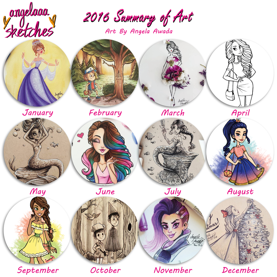angelaaasketches- 2016 Summary of Art by angelaaasketches