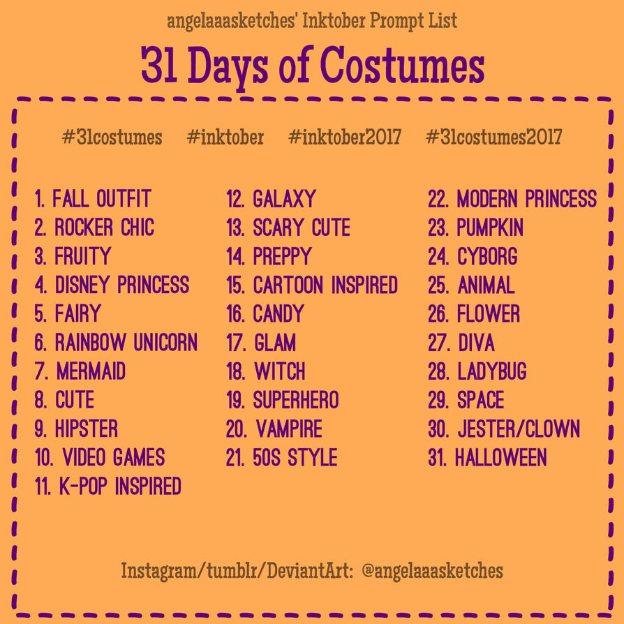 Inktober Prompt List 31 Costumes By Angelaaasketches On