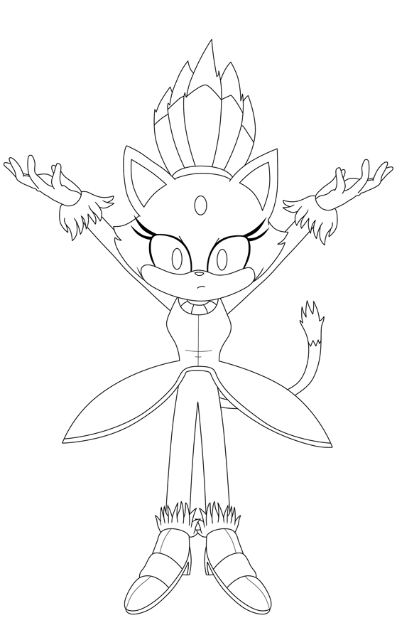 Blaze the cat lineart version by mangafox156 on deviantart for Blaze the cat coloring pages