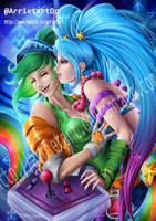 Riven x Sona Arcade (League of legends) by Arrietart