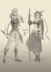 Athel and Sai Character design by Arrietart