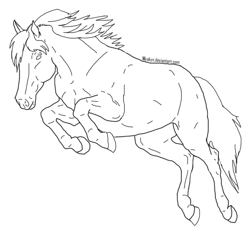 jumping horse lineart by wyakyn