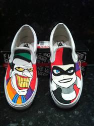 joker harley quinn vans by VeryBadThing