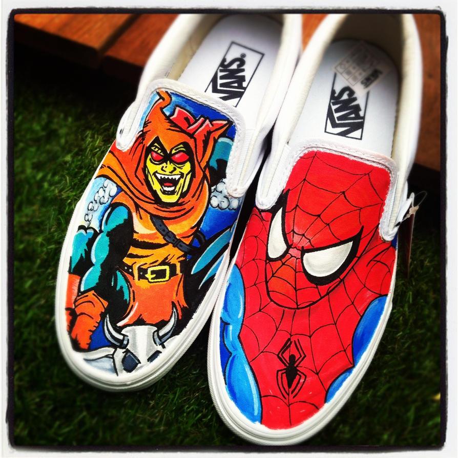 Spiderman v Hobgoblin Vans by VeryBadThing