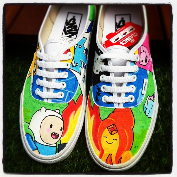 Adventure time Finn Flame Princess Vans by VeryBadThing