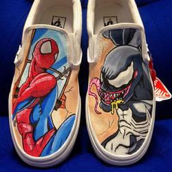 Spider-man Vs Venom Custom Vans by VeryBadThing