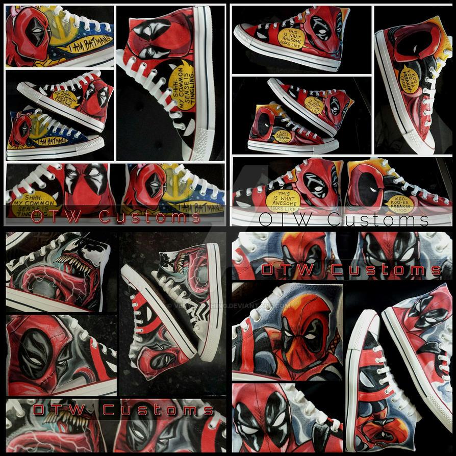 Various Deadpool Custom Converse by VeryBadThing