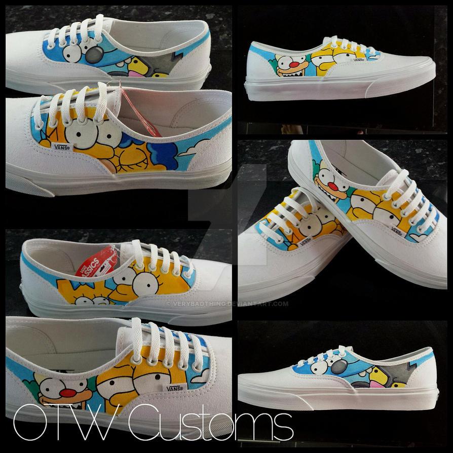 Simpsons hand painted custom vans by VeryBadThing