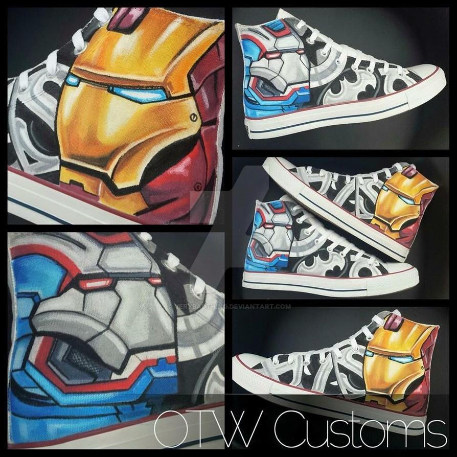 Iron Man V Iron Patriot hero custom Converse by VeryBadThing