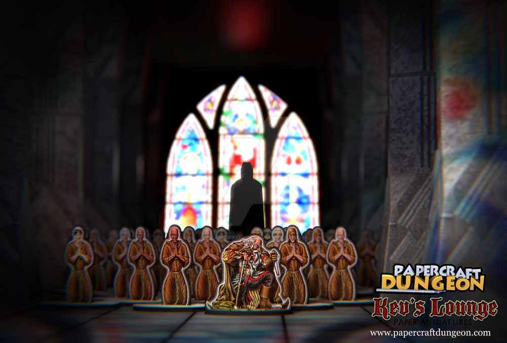 Dwarven Cleric leads monks in prayer by BraveSirKevin