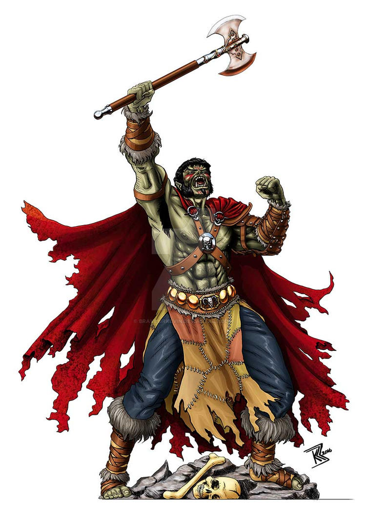 Half-Orc Barbarian by BraveSirKevin