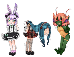 C|| chibis for Rachel and Rocket by Tenshilove