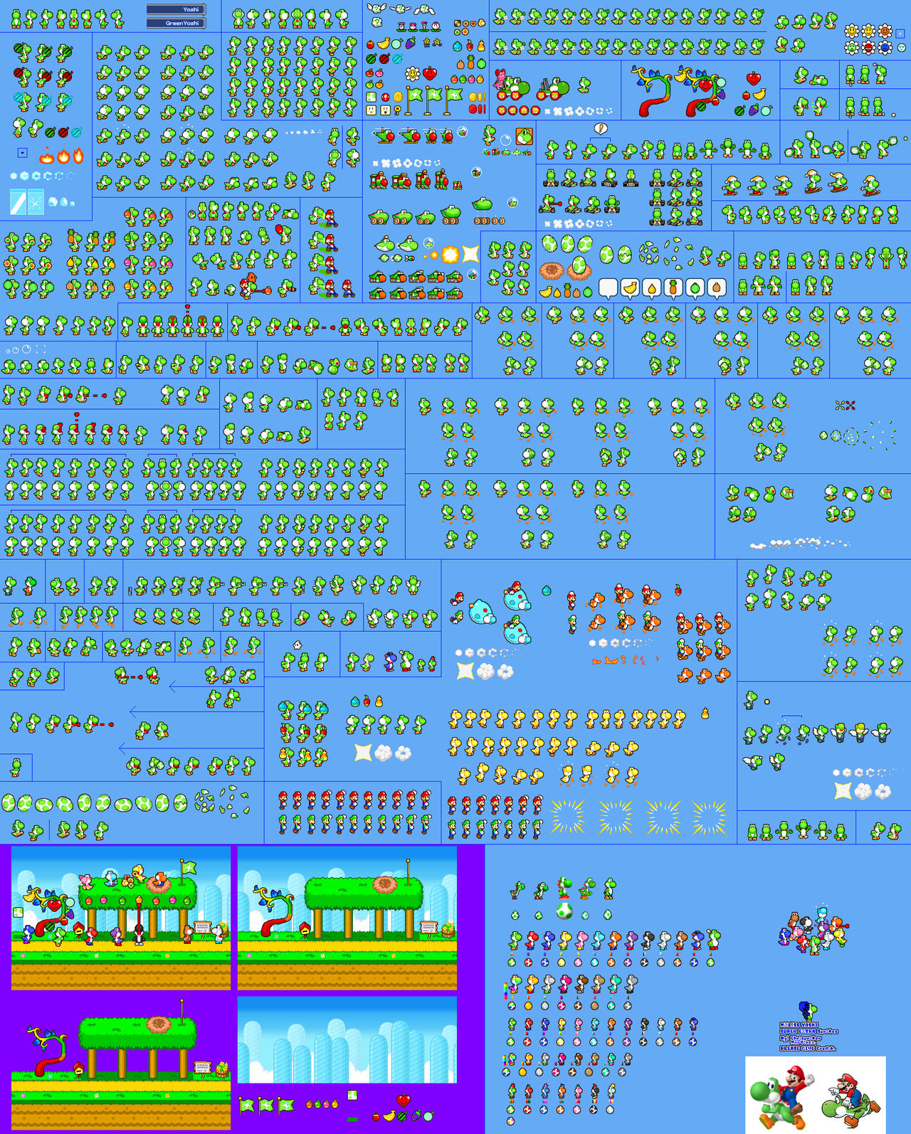MLSS Yoshi Super Extra Sprites by PxlCobit