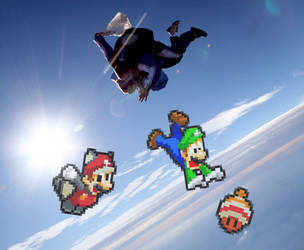 Flying Squirrel Mario Sky Diving by PxlCobit