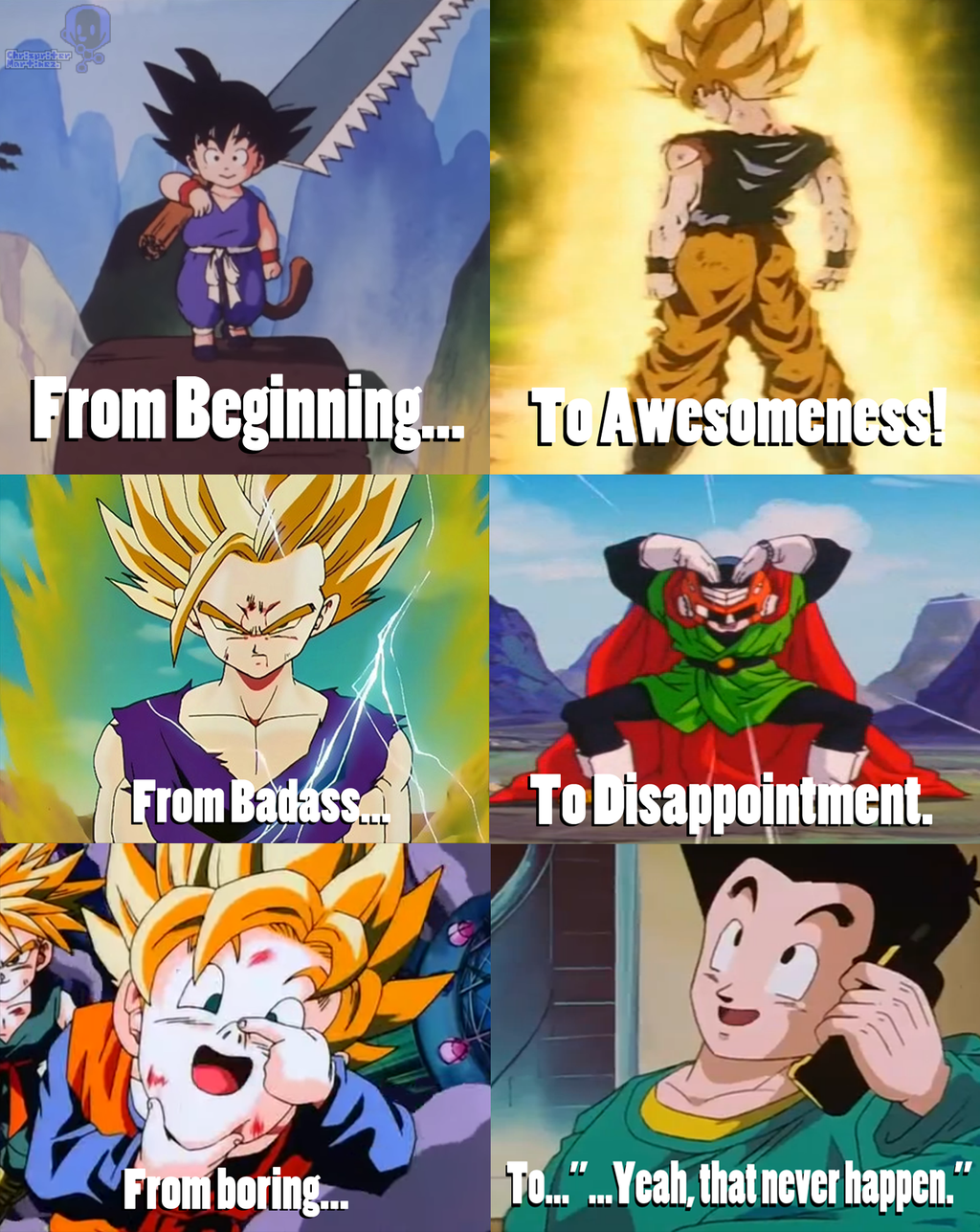 Goku And His Sons From Childhood To Adulthood By Pxlcobit