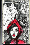 Ariane as little red riding hood quick sketch