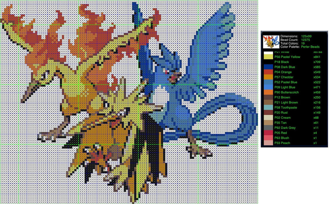 pokemon perler bead pattern bird trio by ladyjirachi on deviantart