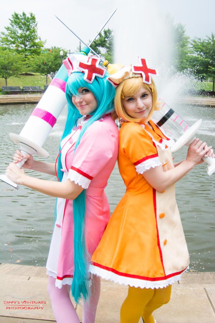 Miku and Rin Love Colored Ward by Hikari-Cosplay