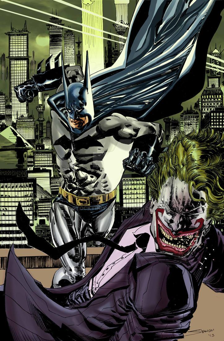 Batman vs classic Joker in color by stockyboy