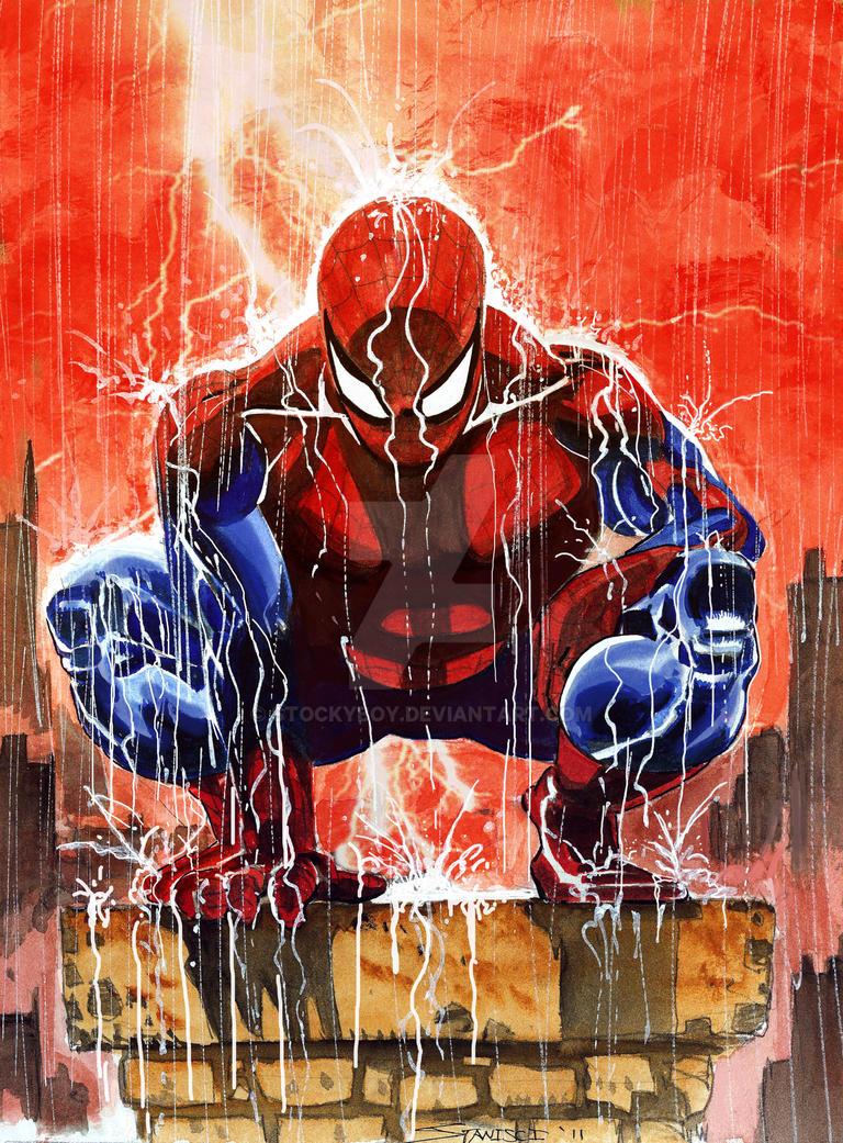 Spiderman Rain by stockyboy