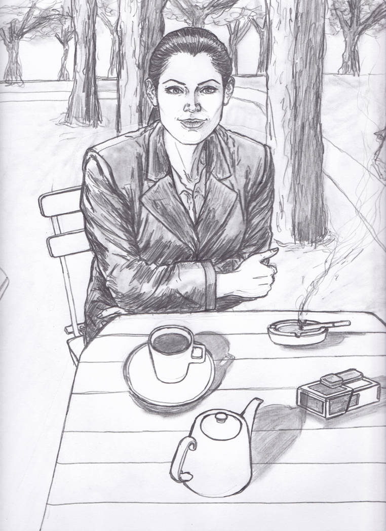 Brunette In Leather Blazer In An Outdoor Cafe by CharmingCurmudgeon