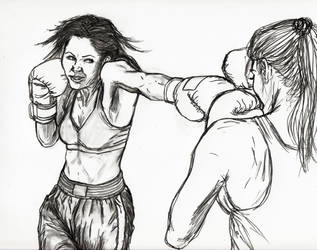 Determined And Sexy Brunette Fighting Blonde by CharmingCurmudgeon