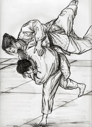 Brunette Throwing Redhead For Brutal Ippon by CharmingCurmudgeon
