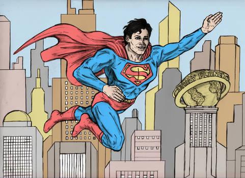Superman Enjoying Flying Around In Metropolis