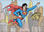 Superman Enjoying Flying Around In Metropolis by CharmingCurmudgeon