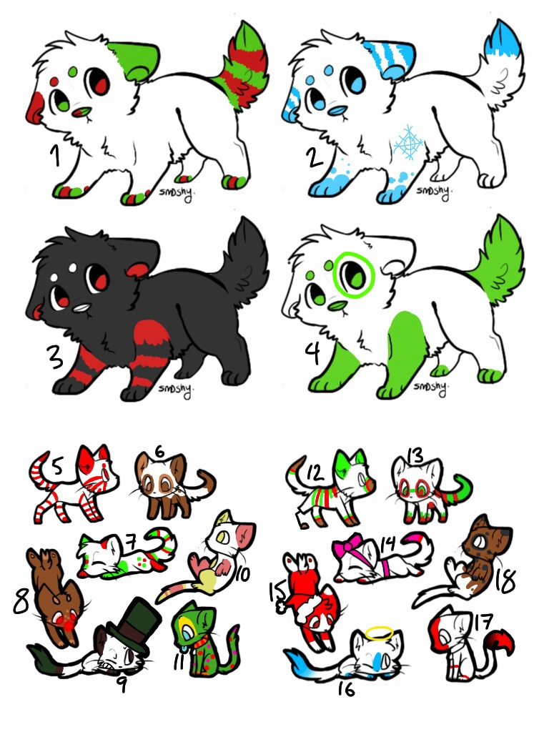 FREE CHRISTMAS ADOPTS!! -SOLD OUT- by CartoonSushi