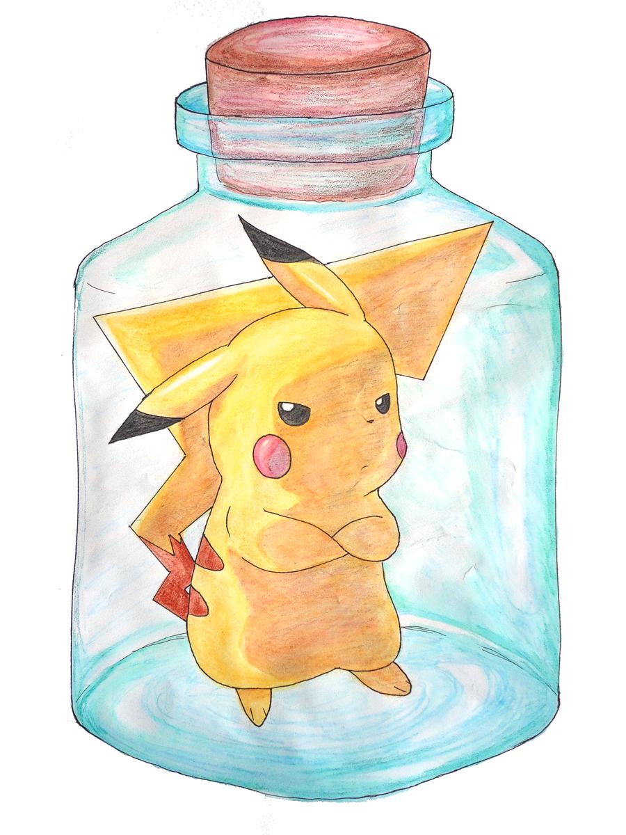 Pikachu in a Bottle by purpleykitty