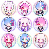 Re:Zero Chibi Buttons by Pikiru