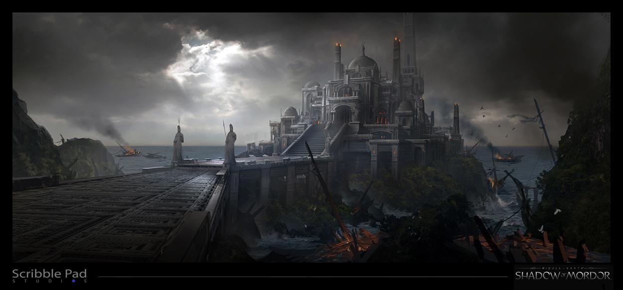 The Thirteenth Dungeon: Gamigin Shadow_of_mordor___castle_concept_art_by_scribblepadstudios-d835kr1