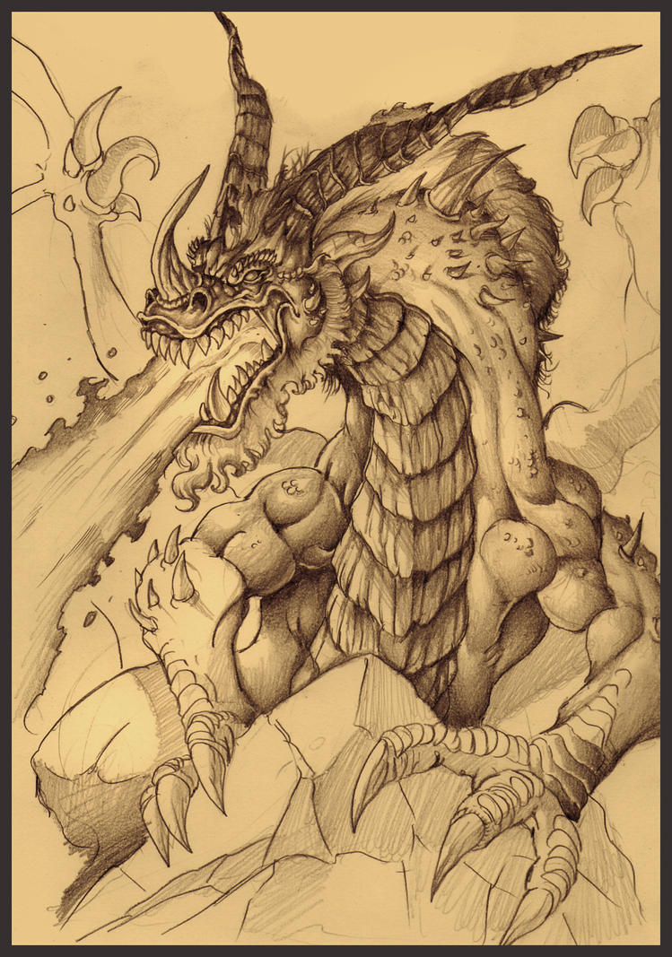 Dragon sketch by DOUGLASDRACO