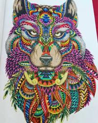 Wolf Zentangle coloring by AntiWarlock