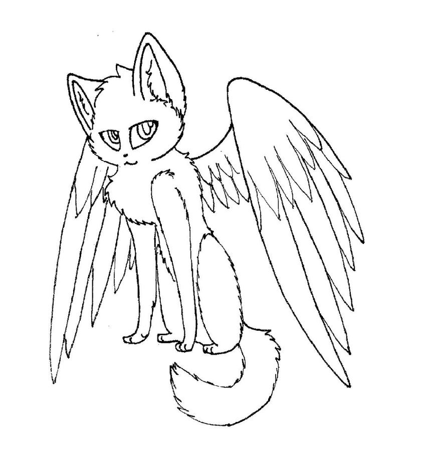 angel kitten coloring pages | Winged cat lineart by rahsterrox on DeviantArt