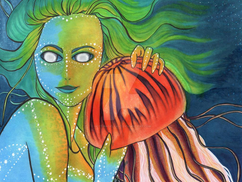 Mermaid and Jellyfish by Elf15