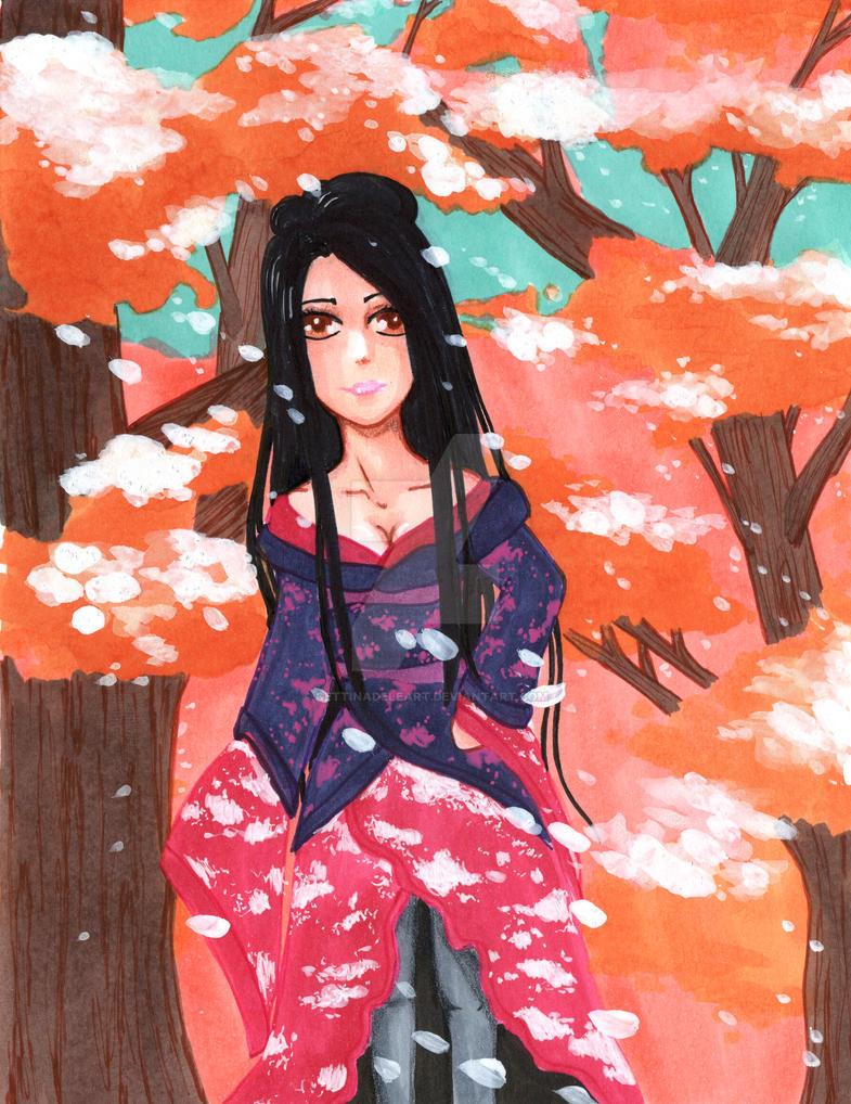 Sakura Blossoms - Girl by gettinadeleart