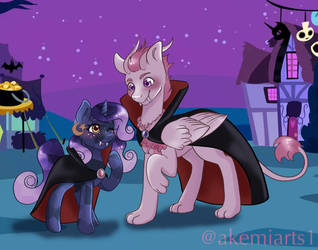 Astral and Moon Cradle Halloween! by Akemiarts1