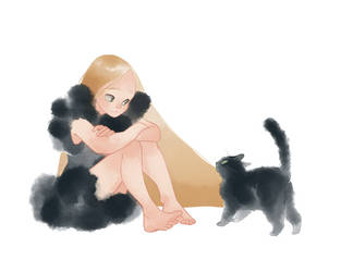 The girl and the black cat by Rozenng