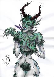 ORIGINAL ART (A4) - Demonic Dryad