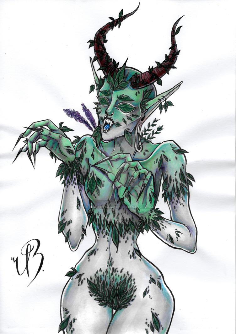 ORIGINAL ART (A4) - Demonic Dryad by KonniTheVampire