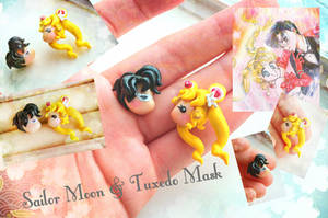 Handmade Sailor Moon and tuxedo Mask studs earring by mayumi-loves-sora