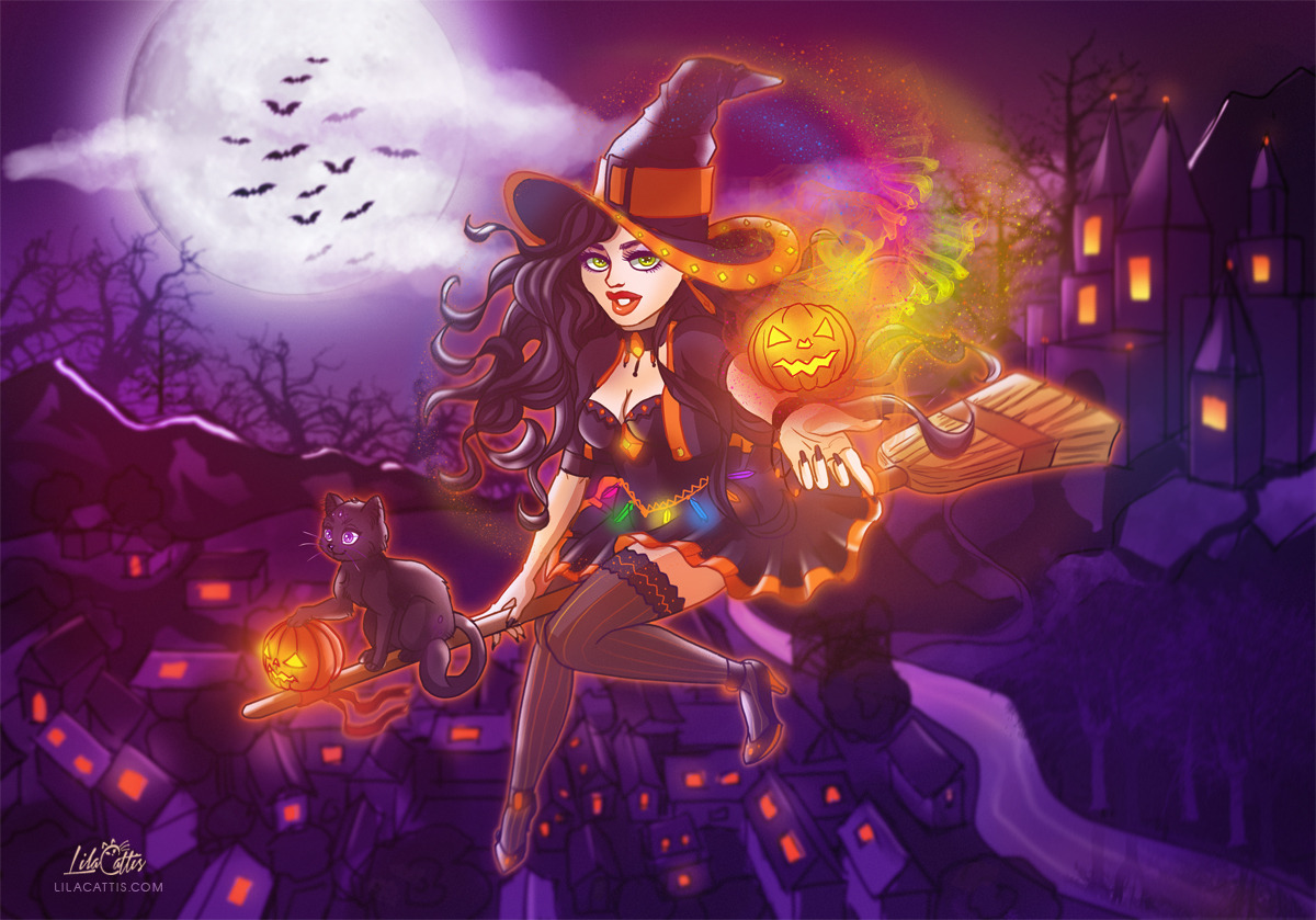 Download Wallpaper Halloween Magic - halloween_witch_and_magic_pumpkin_by_lilacattis-d84kx6t  Image_154277.jpg